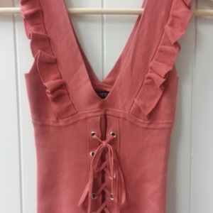 Express Ruffle Tank Top with corset detail NWT